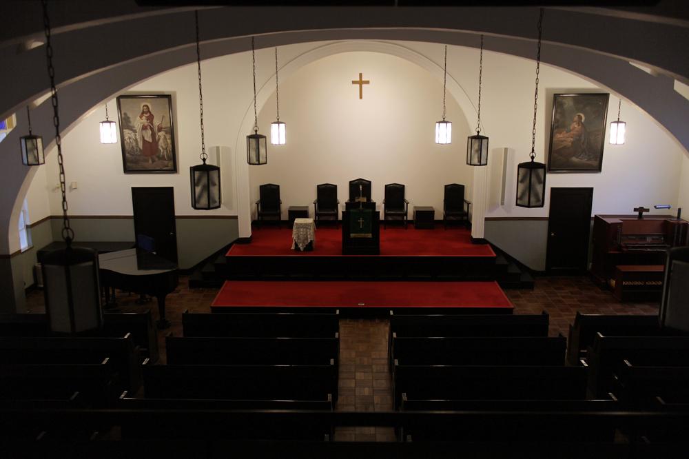 趣のある天満教会の礼拝堂は1929年に建てられた